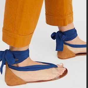 """Free People Royal Blue Lace-Up """"Barcelona"""" Sandals"""